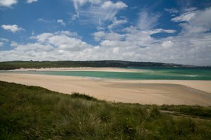 hayle sands approaching St Ives on the Cornish Coast Path UK National Trail