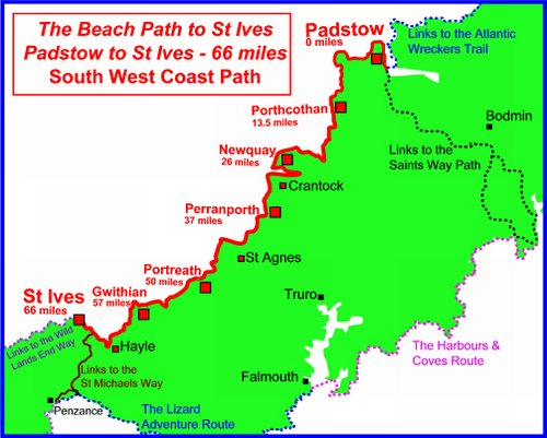 South West Coast Path Map for walking holidays in England on the National Trail UK