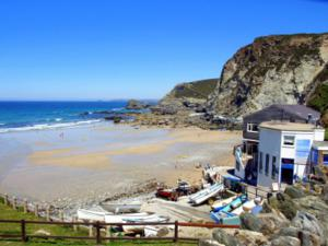 St Agnes Beach and the Driftwood Spa Hotel Accommodation for Coast Path Walkers