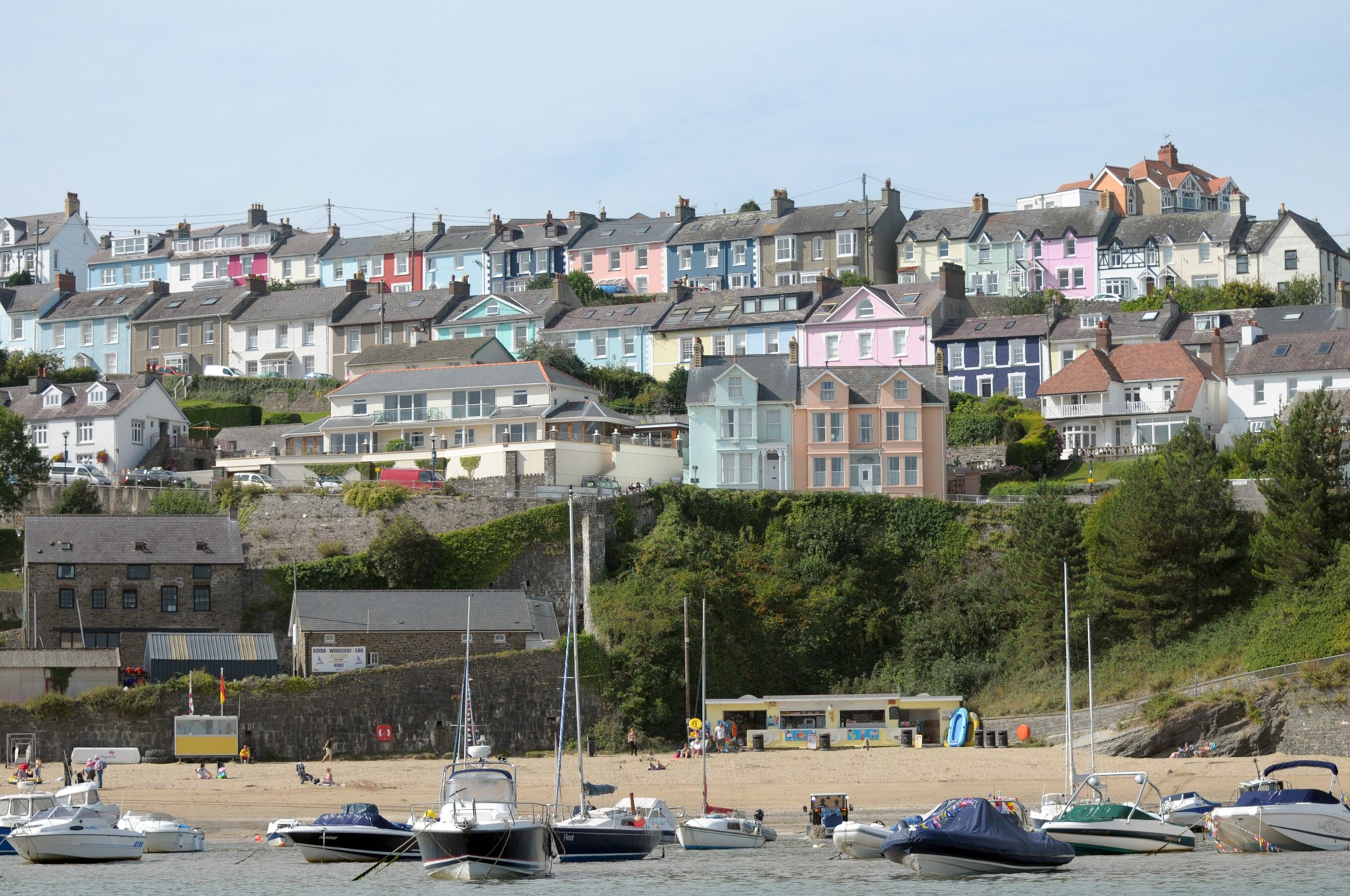 Terrace cottages above harbour at New Quay