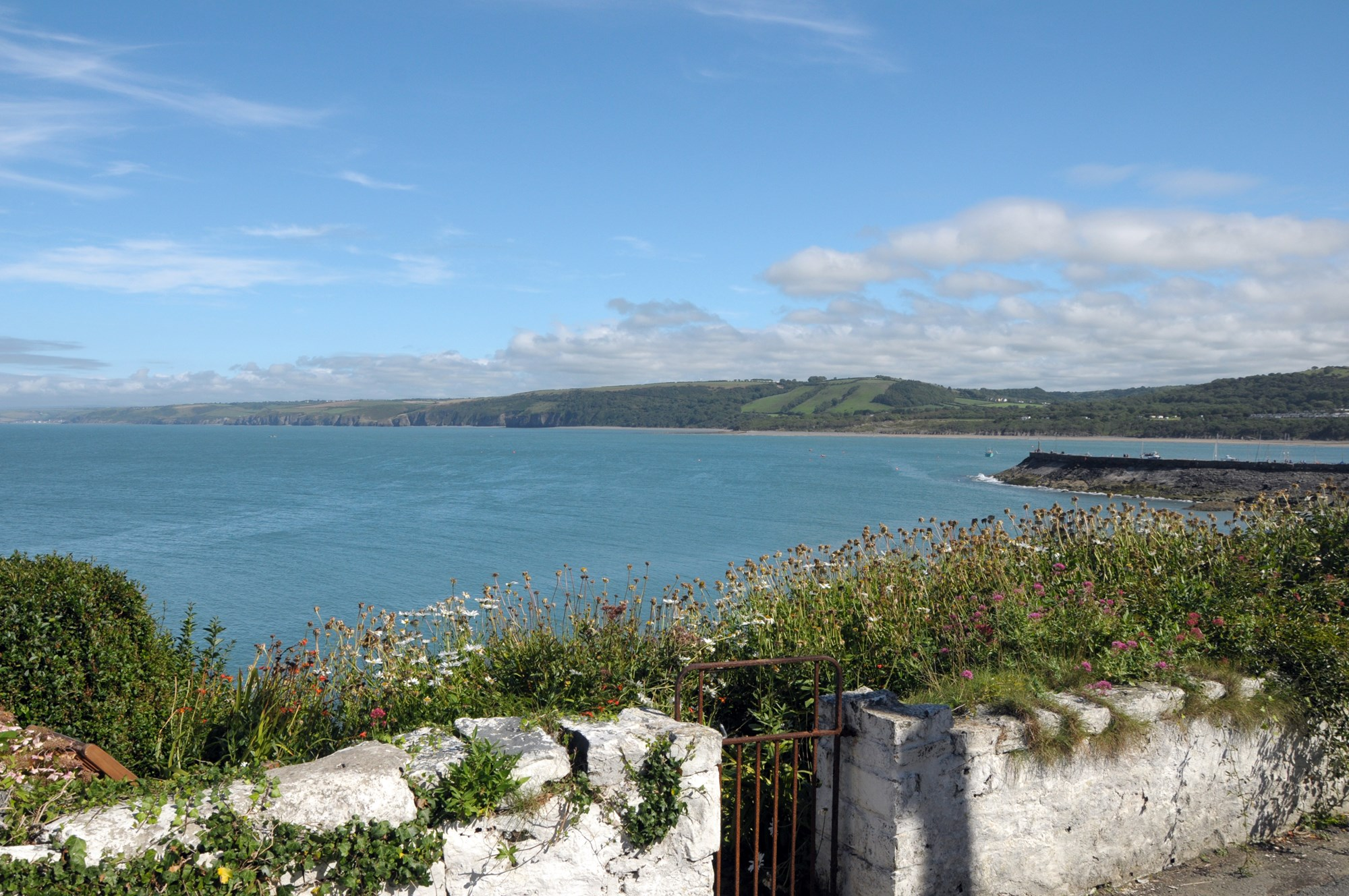 View over harbour town of New Quay