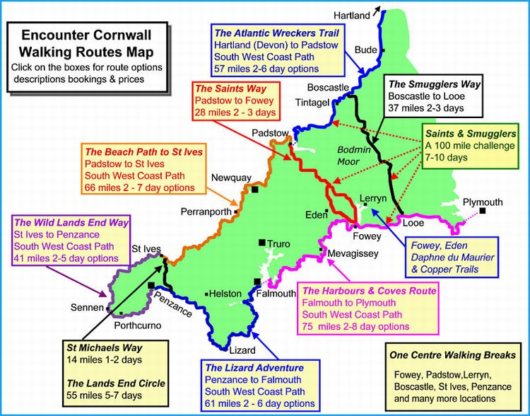 Cornwall Walking Holidays Map including South West Coast Path and Saints Way Map