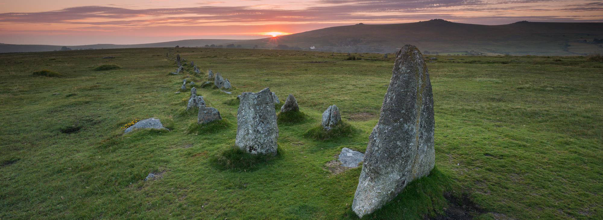 Sunset Merrivale stone row Dartmoor