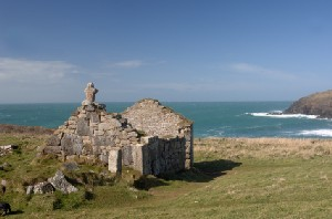 South West Coast Path - ruined chapel at Cape Cornwall near Lands End
