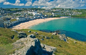 View over St Ives onto The South West Coast Path Walking Route UK