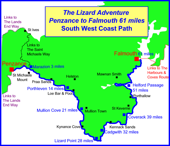 south west coast path map Lizard UK Walking Routes Map Trekking National Trail England