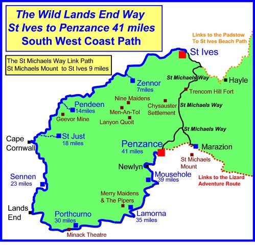 lands end walking map cornwall walking information west country walking trails uk walking map