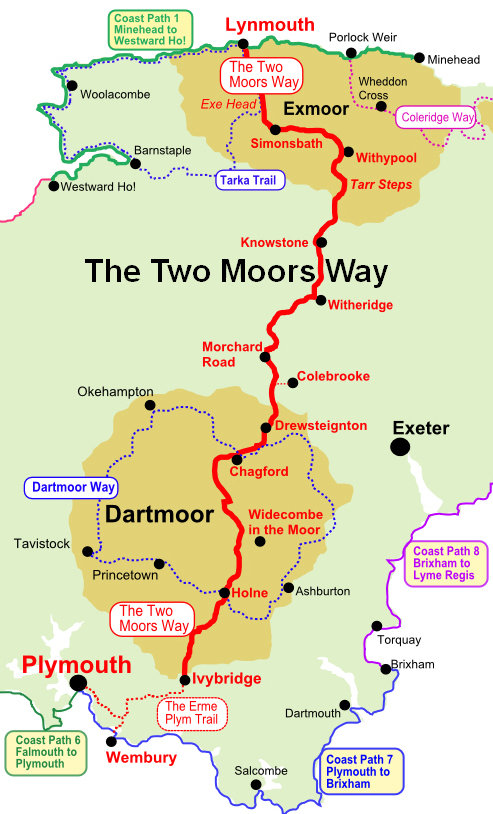 The Two Moors Way Walking Map Walking Holidays In