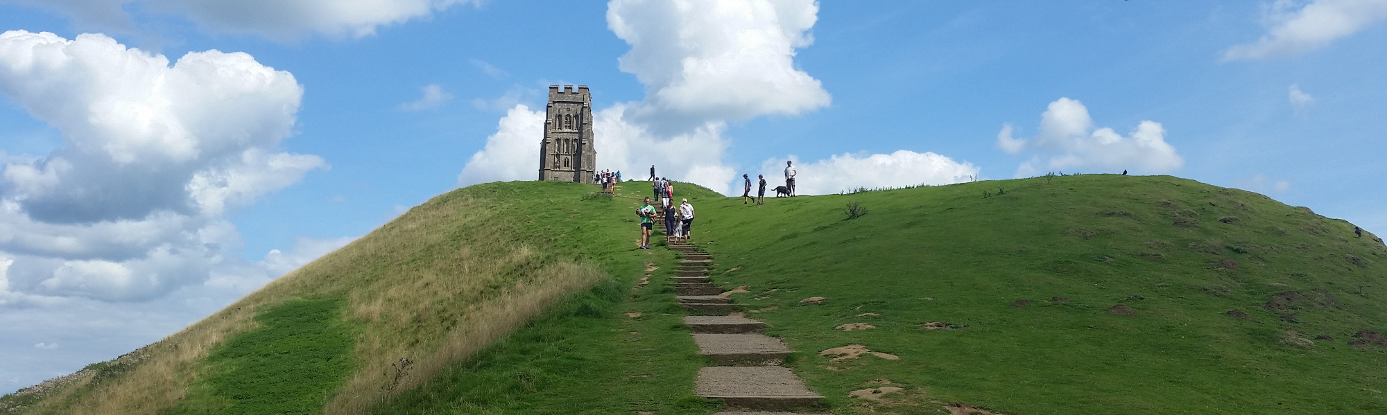 Looking up to Glastonbury Tor