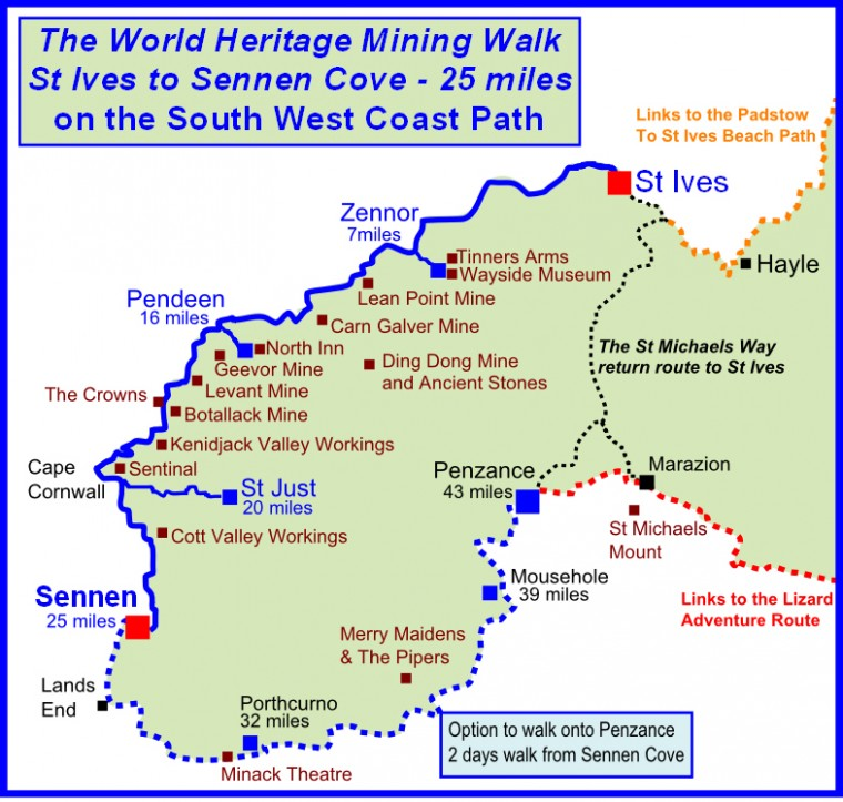 Cornwall mining world heritage walk map walking holidays in the cornwall mining world heritage site gumiabroncs Image collections