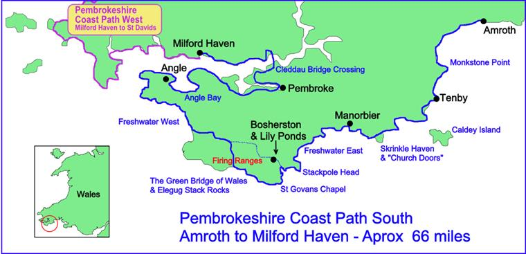 Pembrokeshire Coast Path Route Map, South.