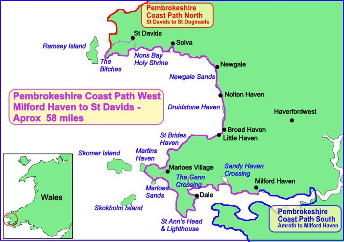 A route map of the Pembrokeshire Coastal Path West section.