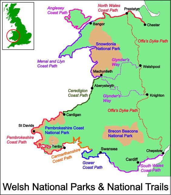 Pembrokshire Coast Path route map, Walking in Wales holidays and short breaks.