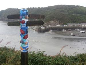 Fishguard Signpost, Welsh Coast Path. Walking holidays and short breaks UK.