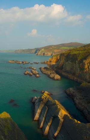 North view from Fishguard, Wales Coastal Path, Pembrokeshire.