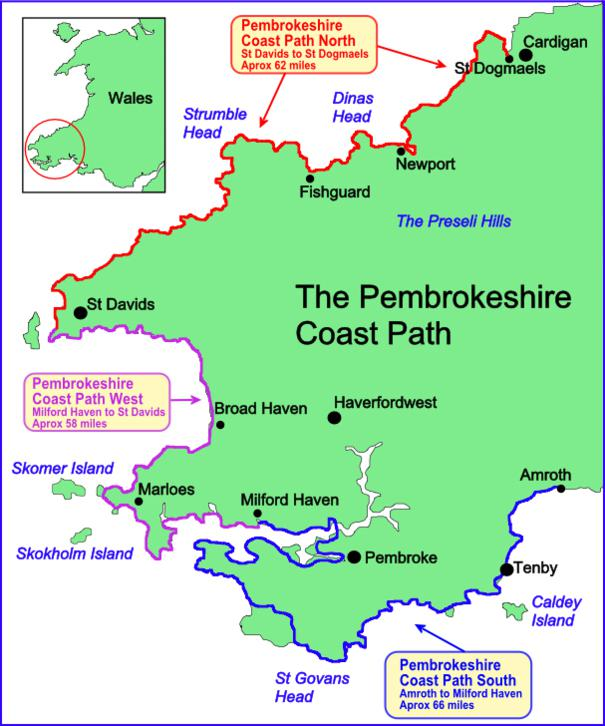 Walking in Wales route map, Pembrokeshire coastal path.