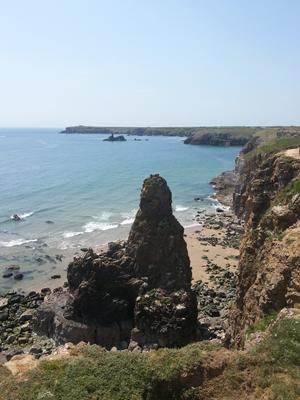 Wales coast path views, Stackpole Sea Stack on the Pembrokeshire coastal path.
