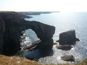 Sea Arch in Wales. Welsh coast path.
