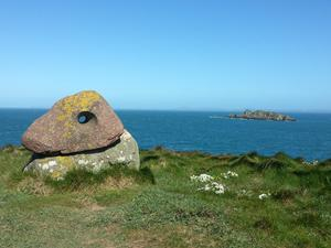 Alain Ayers' Eye of the Sea Sculpture, near Mill Haven on the Pebrokshire Coast Path.