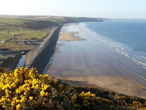 Newgale Sands North, Wales. A view of the Pembrokshire coast path.