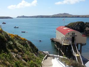 The lifeboat station at St Justinians, Walkes. Walks in wales on the Pembrokeshire coast.