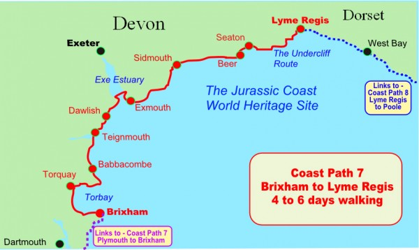 Brixham to Lyme Regis walking map