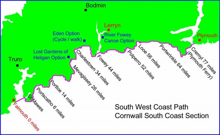 South West Coast Path Map showing the Cornish Coastal Route to Plymouth UK