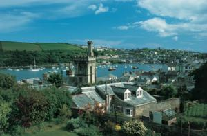 Fowey Town at the end of The Saints Way coast to coast footpath Cornwall UK