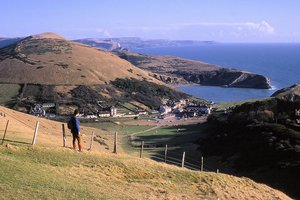 Dorset Coast Path Walking - View over Lulworth Cove