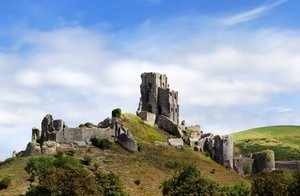Corfe Castle near Swange on the South West Coast Path Devon Trail UK