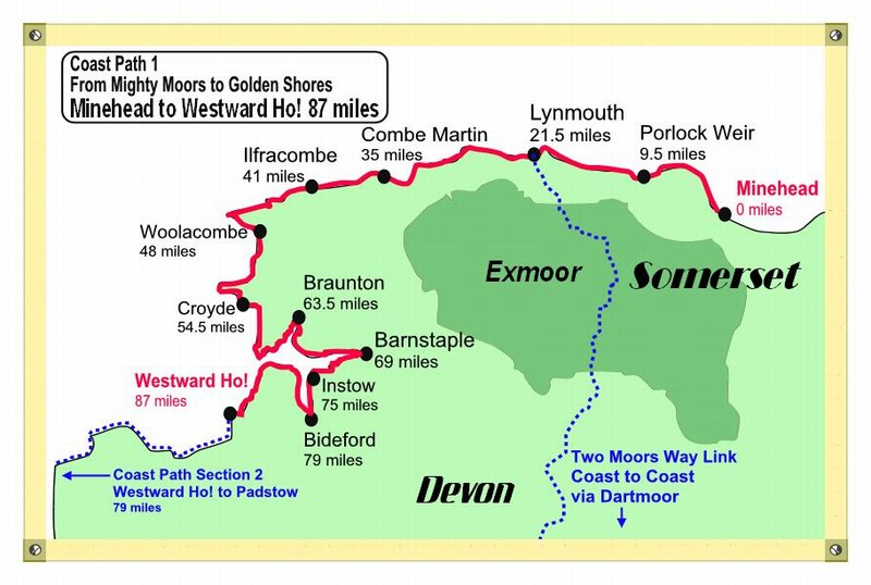 South West Coast Path Walking Map, Exmoor Walking Holidays, Devon Coast Path