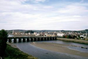 Barnstaple Long Bridge used by the South West Coast Path in Devon UK