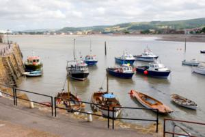 Minehead Harbour start of The South West Coast Path in Somerset UK
