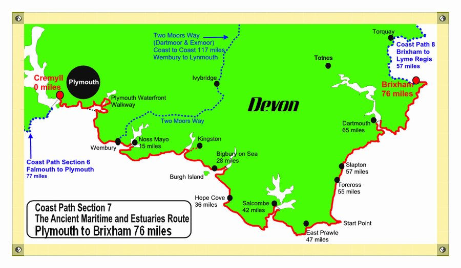 Devon Coast Path Map South West Coast Path Walking Map UK