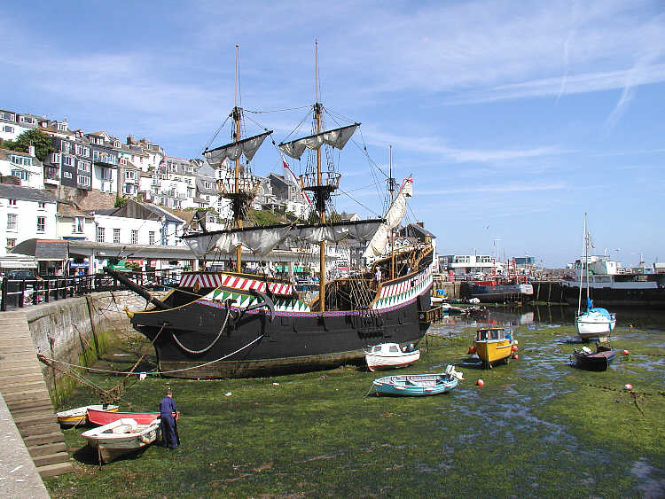 Golden Hind Replica at Brixham Harbour on the Devon Coast Path Walk