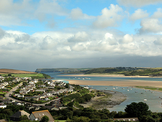 View over Padstow and the Camel Estuary at the start of The Saints Way Path