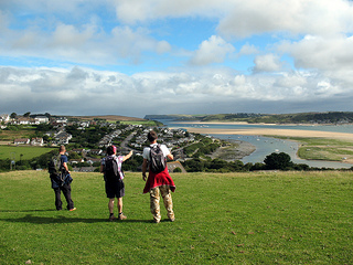 Padstow from Dennis Hill at the start of The Saints Way Walk Cornwall