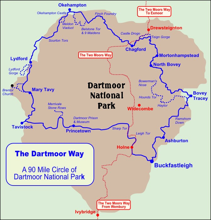 Dartmoor Way Walking Map and Map of Dartmoor National Park for Walkers