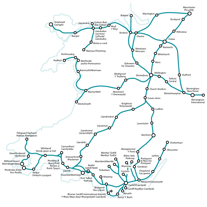 general rail options for the wales coast path gwr train line map